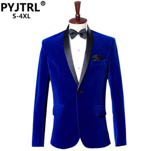 Image 1 - PYJTRL erkek sonbahar kış klasik şal yaka kraliyet mavi kadife düğün damat takım elbise ceket eğlence Blazer Masculino Slim Fit