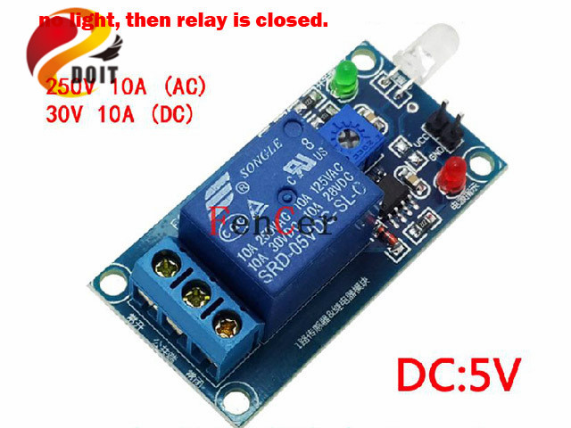 Official DOIT Light-Operated Switch for Light Module Photodiode with Relay Module Light Detection 12V 5V Raspberry Pi R3 Robot