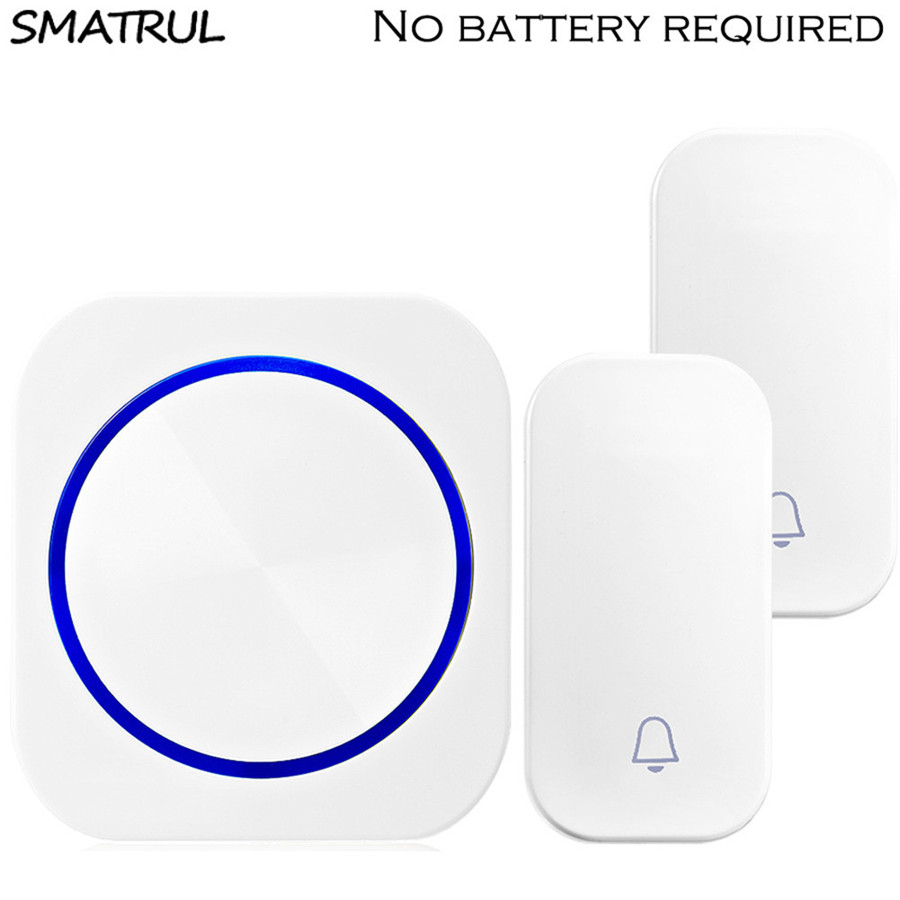 SMATRUL self powered Waterproof Wireless DoorBell LED light no battery EU plug home Door Bell ring chime 2 button 1 ReceiverSMATRUL self powered Waterproof Wireless DoorBell LED light no battery EU plug home Door Bell ring chime 2 button 1 Receiver