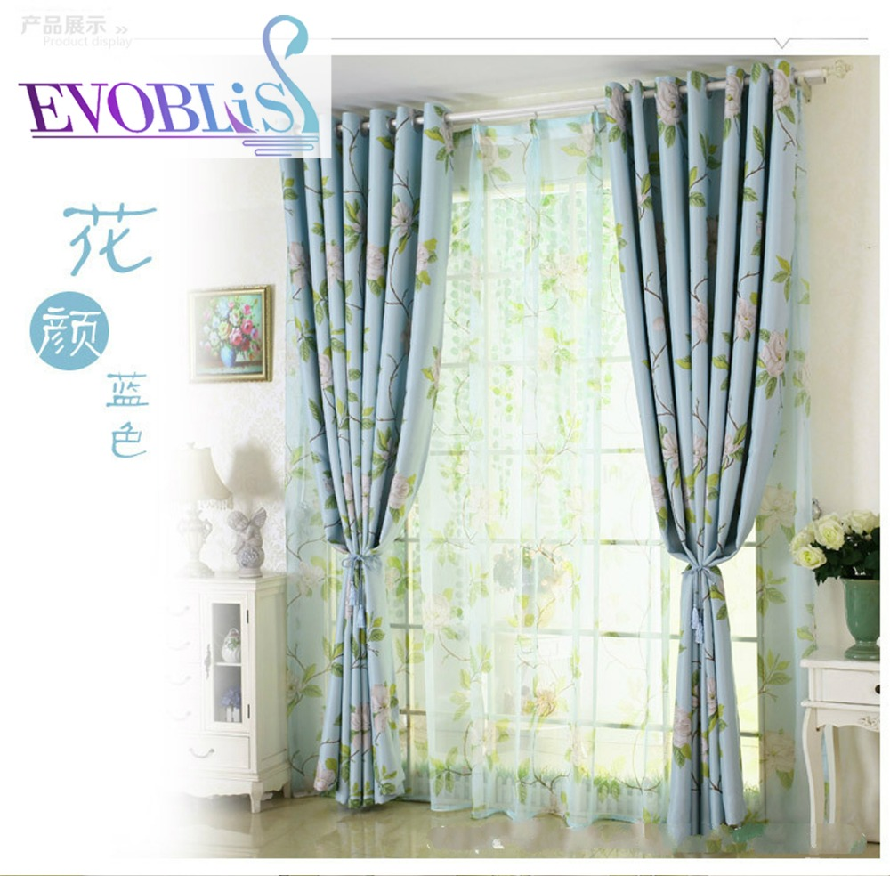 One Sided Velvet Curtains Pastoral Printed Curtains For