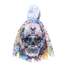 Punk Mens Colorful Skulls Printing Hip-hop Coat Loose Jacket Hooded Outwear Boys Casual Yifsion