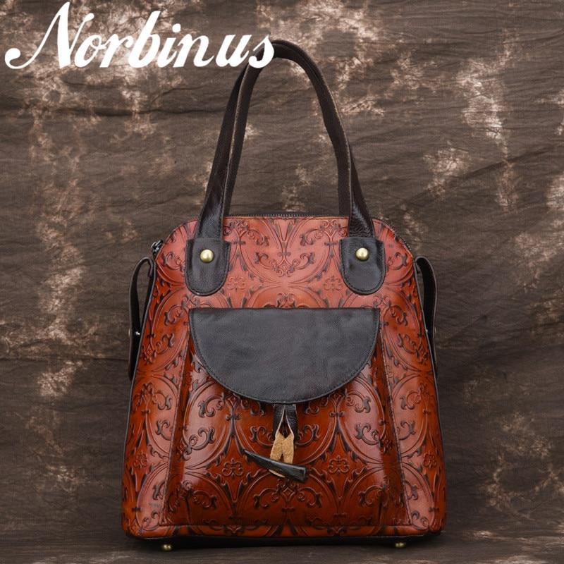 Norbinus Women Genuine Leather Backpacks Ladies Embossed Shoulder Bag School Bag for Teenager Girls Rucksack Bagpack