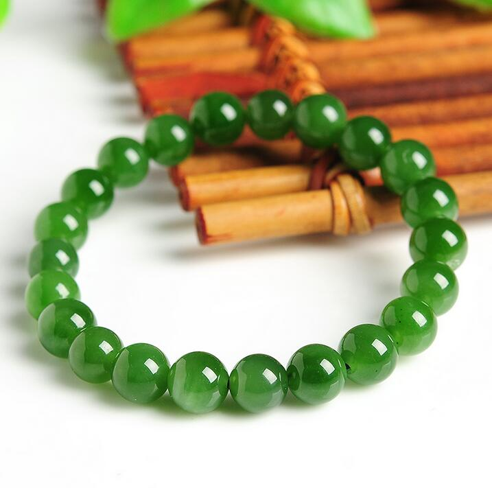 100% Natural A Grade Green  Jadeite Smooth 8mm Beads Elastic Line Bracelet100% Natural A Grade Green  Jadeite Smooth 8mm Beads Elastic Line Bracelet