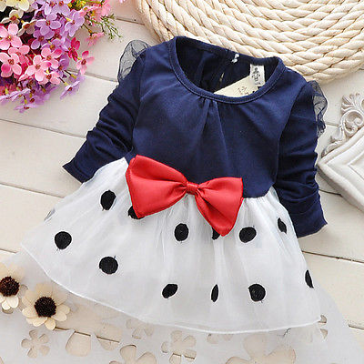 Dresses Kids Baby Toddler Girls Clothing Princess Long Sleeve Bow Polka Dot Cute Party Girl Summer Dress toddler kids baby girls boho long foral princess party dress prom beach maxi sundress print lovely casual long sleeve dresses