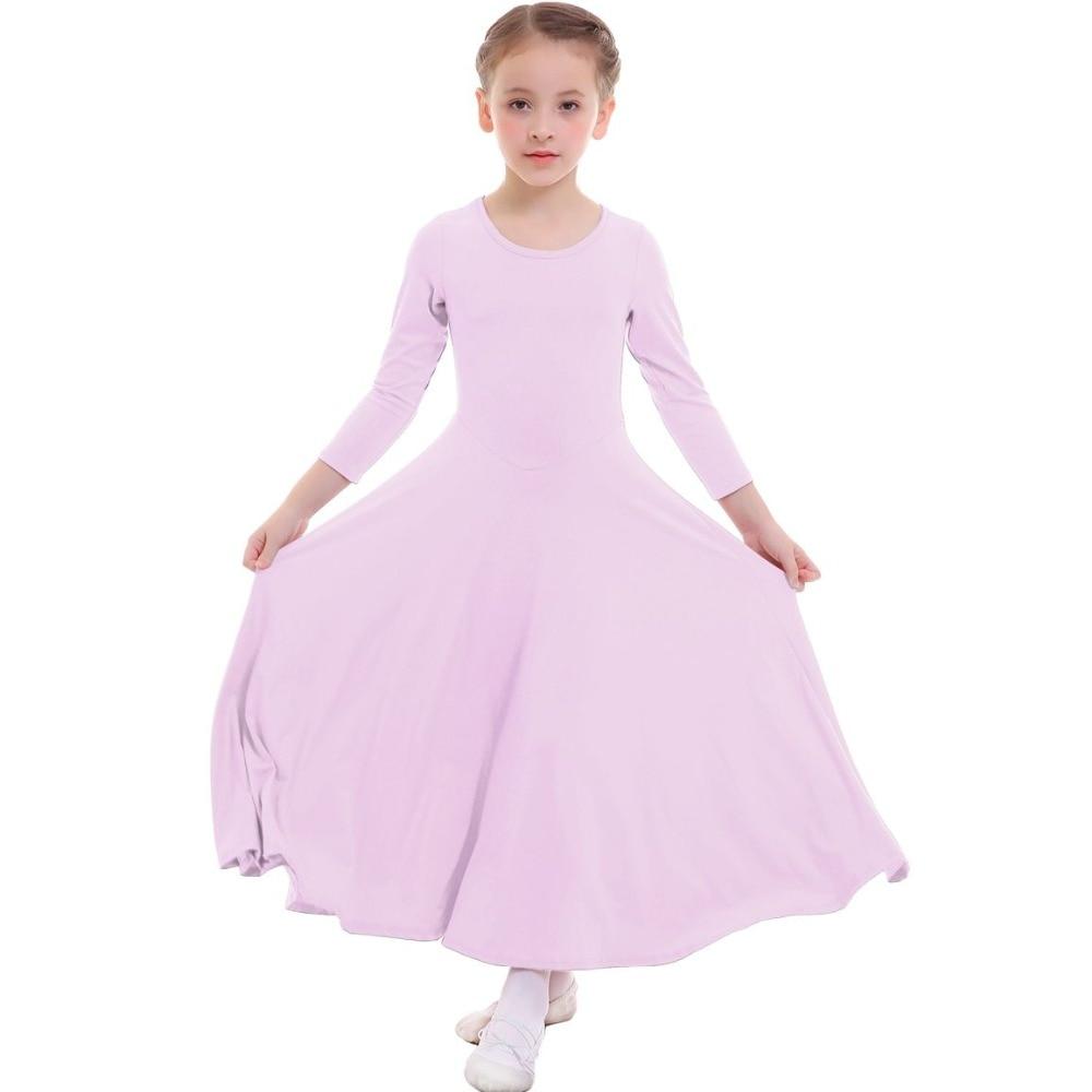 Fashion Girls Long Dress Kid Children Sleeves Pleated Slim Plain Pray Winter Dance Wear Dancing