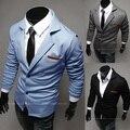14 primavera turn down couro colar fino de malha cor sólida masculino blazer preto outerwear