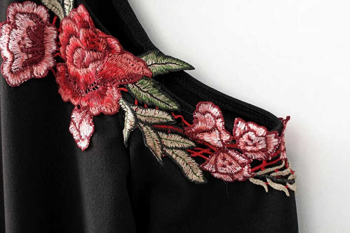 1e1650e8973 ... Sexy Red Rose Flower 3D Appliques Embroidery Off Shoulder Sheath Dress  Vintage Woman Long sleeve Package