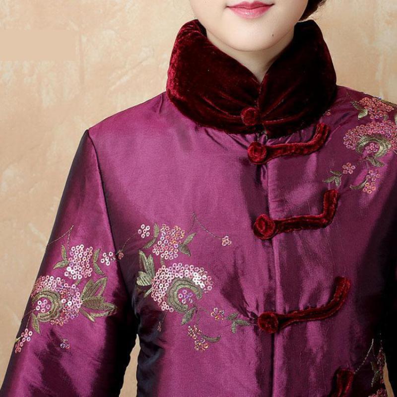 Épais Oversize 4xl Wram Broderie Vêtements pourpre Fleur Outwear Hiver Manteau Chinois Femmes Vert 2019 Nouvelles M Style Mère Tang Vintage Veste daUOCw6Oc