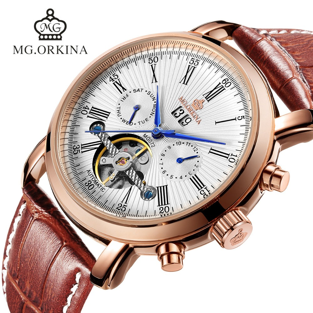 2018 Tourbillon Automatic Leather Watch Self Wind Clock Men Business Mechanical Rose Gold Plated Week Date Display Wrist Watches все цены