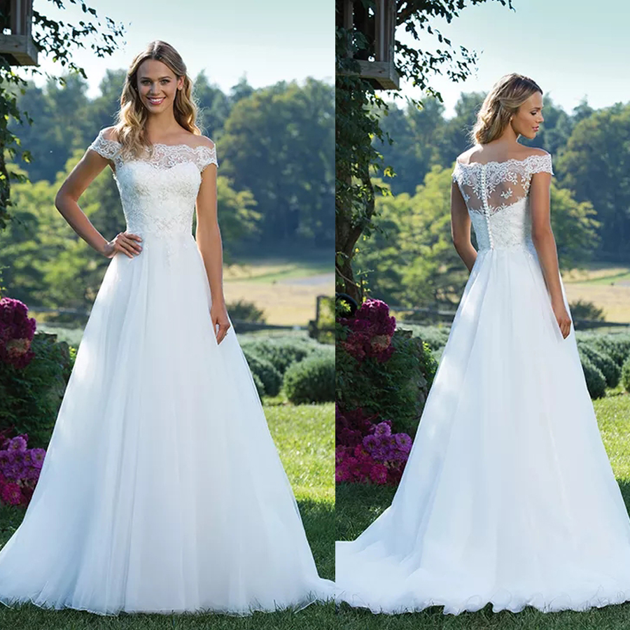 Princess Portrait Neckline Illusion Beaded Lace And Tulle Off The Shoulder Wedding Dress A-Line Button Back Bridal Gowns