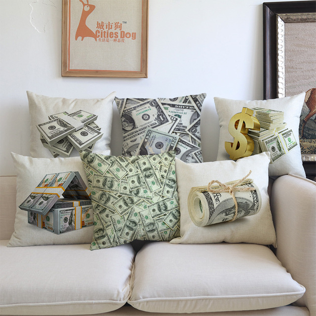 Unique New US Dollar Decorative Sofa Throw Pillows 18 inches Square Linen Cotton Money Print iice Chair Lovely - Elegant Big sofa Pillows Amazing
