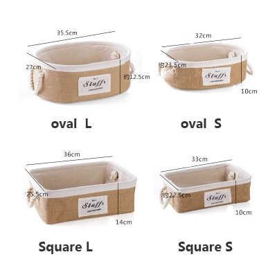 Caixa de armazenamento de artigos diversos de mesa cesta de armazenamento de tecido de juta simples portátil lanches caixa de armazenamento de acabamento