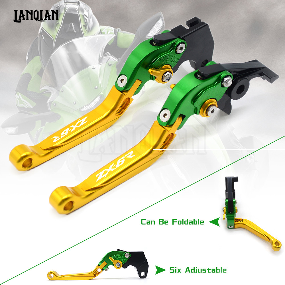 CNC Motorcycle Accessories Brake Clutch Levers Adjustable Folding Extendable For KAWASAKI Ninja ZX6R 636 ZX6RR ZX 6R 2005 2006