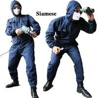 2017 мужские джинсовые комбинезоны, рабочая одежда с длинным рукавом и капюшоном, Рабочие Комбинезоны для машинной сварки, авто ремонт, покра...