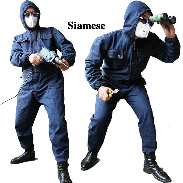 2017 Men Overalls Denim Work Clothing Long Sleeve Hooded Coveralls Labor Overalls For Machine Welding Auto Repair Painting M-4XL
