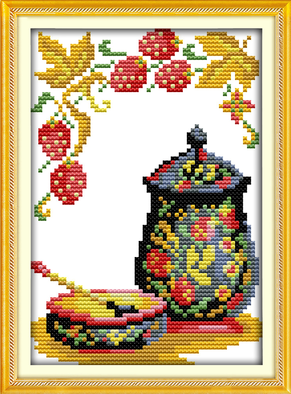 Cross-stitch Precise The Pottery Vase Flower Home Decor Painting 14ct 11ct Cross Stitch Needlework Set Embroidery Kits Diy Home Decoration