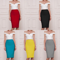 Women Fashion Blue Yellow Gray Beige Red Black White Bandage Pencil Skirt Top Quality Bodycon Summer High Waist Skirts Wholesale