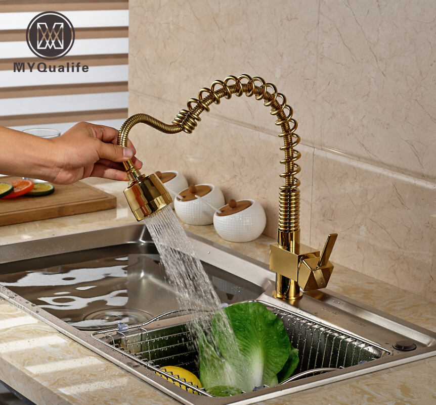 Single Lever Pull Out/down Spring Kitchen Sink Faucet Deck Mount Golden Mixer Water Taps swanstone dual mount composite 33x22x10 1 hole single bowl kitchen sink in tahiti ivory tahiti ivory