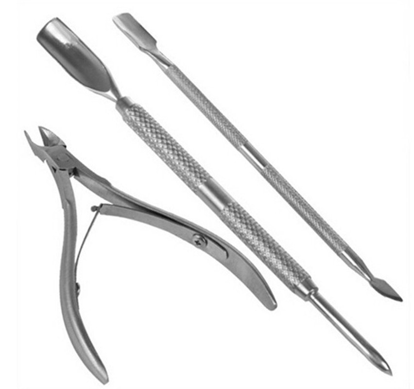 2018 Professional Nail Care Manicure Tool 3PCS/Set Stainless Steel Dead Skin Shear Fork Double Sided Finger Dead Skin Push