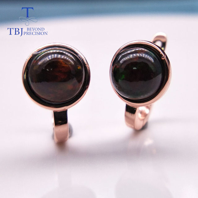 TBJ,925 ayar gümüş gül rengi küçük toka nokta küpe doğal renkli opal taş basit stil takı kızlar için
