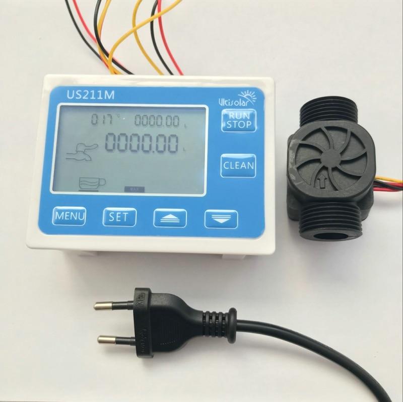 US211M Flow Meter Totalizer Flow Measurement with  Flow Sensor USN-HS43TAT with Temperature Sensor and power supplyUS211M Flow Meter Totalizer Flow Measurement with  Flow Sensor USN-HS43TAT with Temperature Sensor and power supply