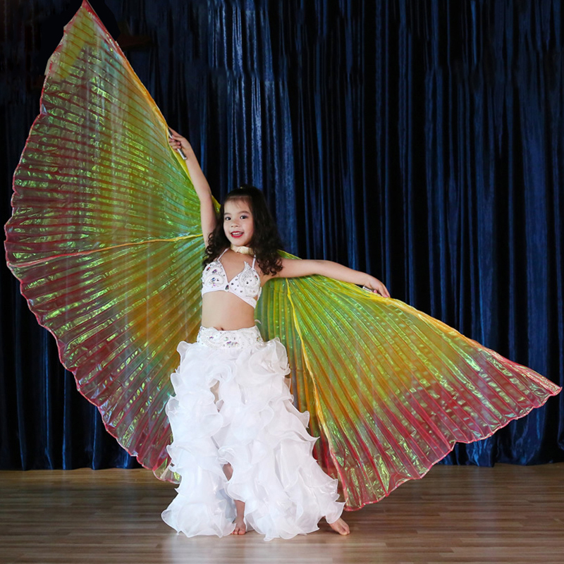 Children Dance Performance Props Belly Accessories Egyptian Non-Split Transparent Multicolours Isis Wings for kid