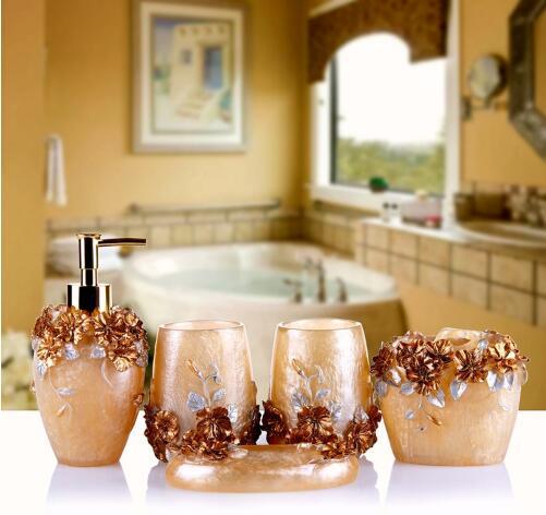 Ensemble de salle de bain cinq pièces résine lavage créatif suite articles de toilette de mariage cadeau Lotion bouteille savon boîte brosse à dents dentifrice gargarisme