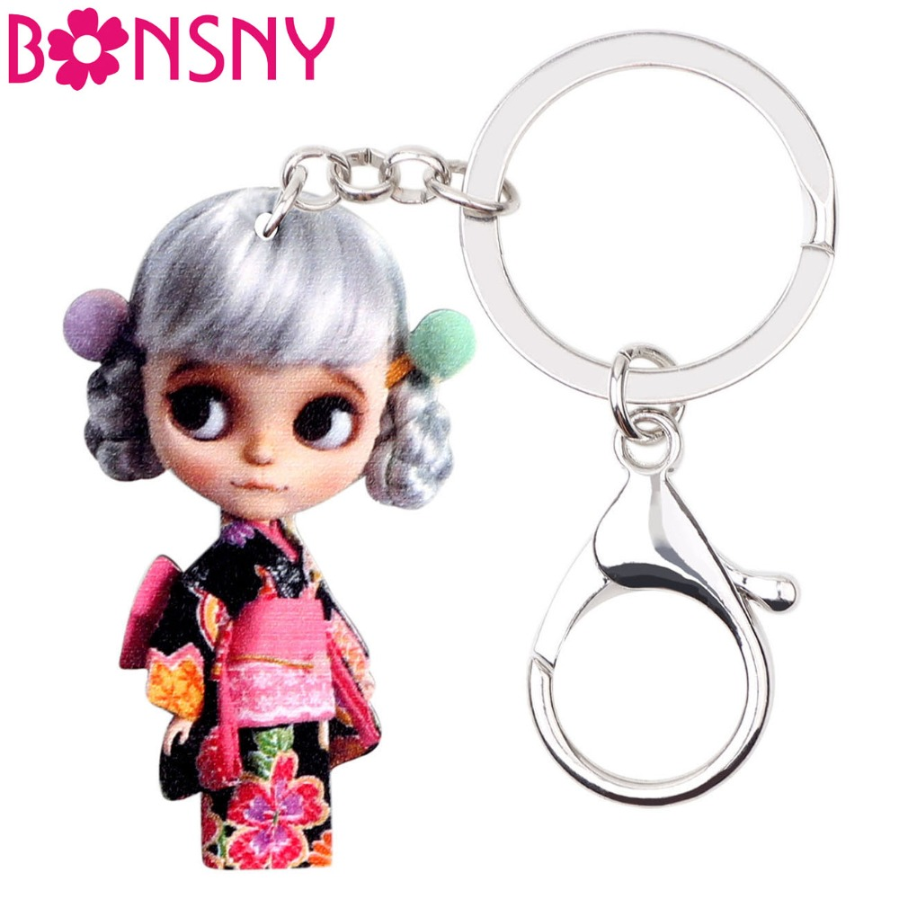 Bonsny Acrylic Japanese Silver Hair Doll Key Chains Keychain Keyring Cute Fashion Jewelry For Women Girls Teens Accessories