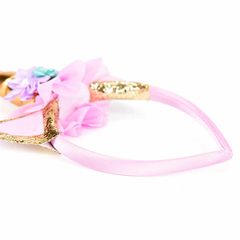 DIY Pesta Topi Bayi Ikat Kepala Rambut Dekoratif Emas/Perak Tanduk Unicorn Rambut Hoop Sifon Bunga Glitter Telinga Anak