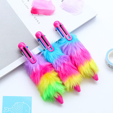 6 Color in 1 Pen Stationery Rainbow Plush Ballpoint Pen School Supplies Kawaii Office Accessories Pens For Writing Stationery 1 pcs beautiful feather pens ballpoint pen fashion accessories for writing school office supplies cute kawaii pen stationery