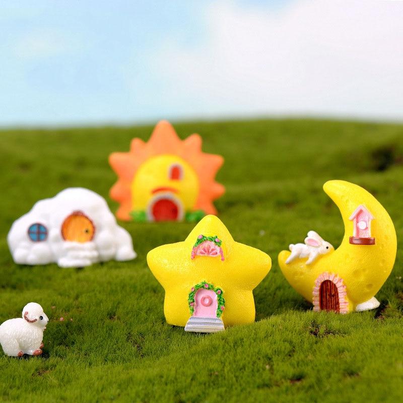 Fantasy Starry House Moon Sun Clouds Fairy Garden Miniatures DIY Ornament Decoration Crafts Figurines Micro Landscape