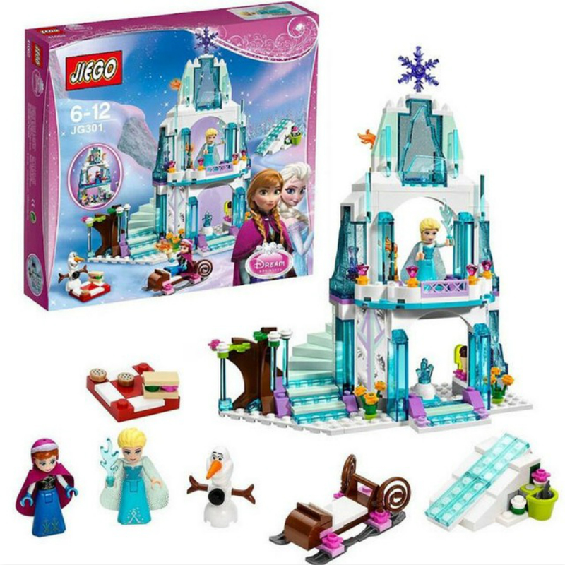 316pcs Color Box Dream Princess Elsa Ice Castle Princess Anna Set Model Building Blocks Gifts Toys