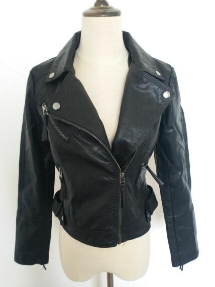 Faux Pu Leahter Women Autumn Black Punk Slim Short Jacket Motorcycle Biker Female Faux   Leather   Zipper Pink Outerwear