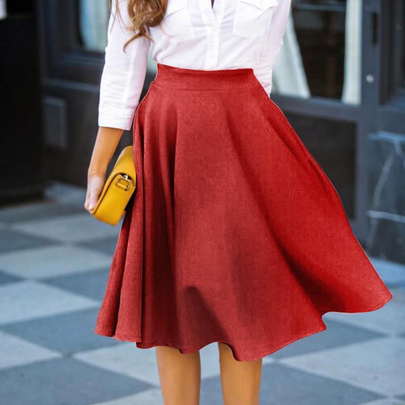 Summer Skirt Women Clothing 2018 Black pink Red Casual Elegant Vintage Mid Office High Waist Skirt