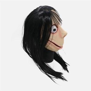 Image 2 - חם משחק מפחיד Momo לטקס מלא ראש מסכת קוספליי ליל כל הקדושים ארוכים שיער לטקס מסכות מסיבת אבזרי