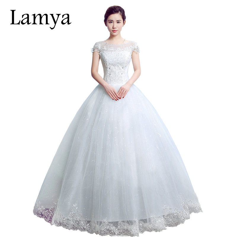 Lamya Princess O Neck With Short Sleeve Wedding Dress 2017 Romantic Bride Dresses Cheap Plus Size Vestido De Novia