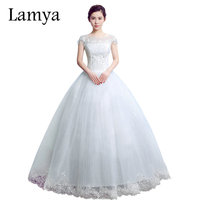 Lamya Princess O Neck With Short Sleeve Wedding Dress 2016 Romantic Bride Dresses Cheap Plus Size