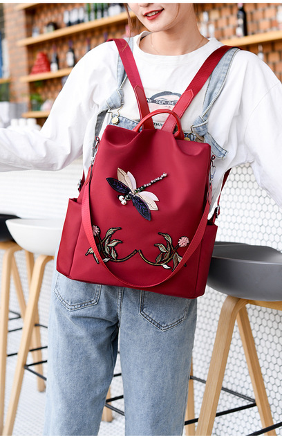 Waterproof Nylon Women Backpack Zipper Oxford School Bags For Girls Dragonfly Flower 3D Embroidered Backpack Female Rucksack