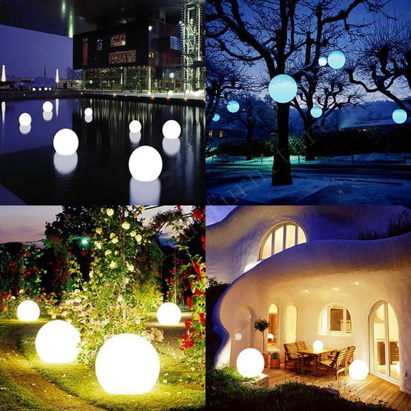 8pcs free shipping 20cm waterproof outdoor battery powered rgb function for waterproof 16 colors change remote control plastic outdoor light lamp sphere led ball aloadofball Gallery
