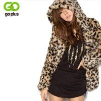 GOPLUS 2019 Lady Faux Fur Coat Winter Leopard Fur Jacket Hooded Fur Outerwear Coat Women Warm Fake Fur Coat Casaco De Pele Falso