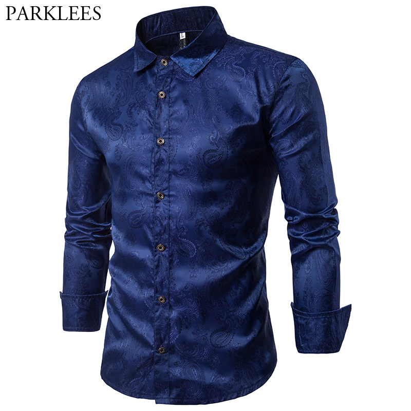 Shiny Silk Shirt Men Chemise Homme 2017 New Paisley Flower Slim Fit Long Sleeve Men Shirt Casual Button Down Mens Dress Shirts