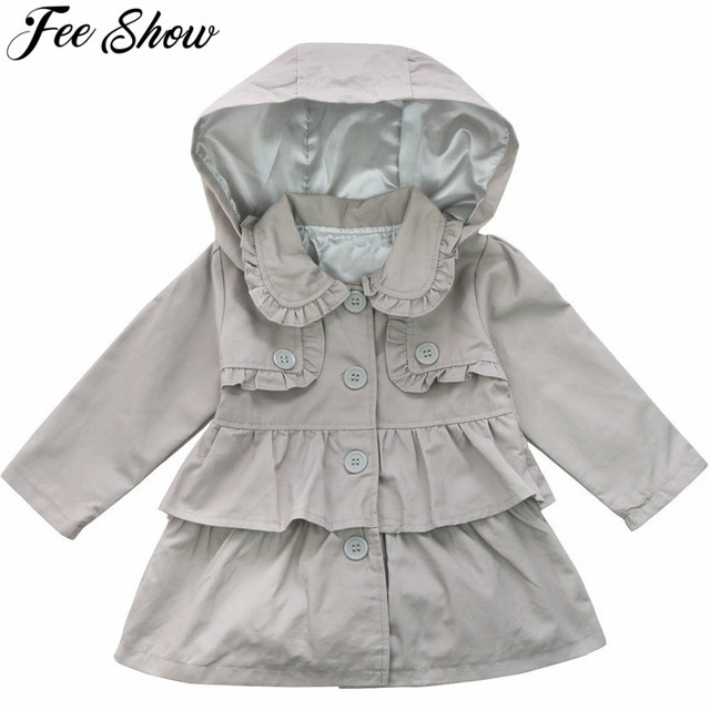 45cfca322 FEESHOW Kids Baby Girls Winter Hooded Trench Coat Wind Jacket ...