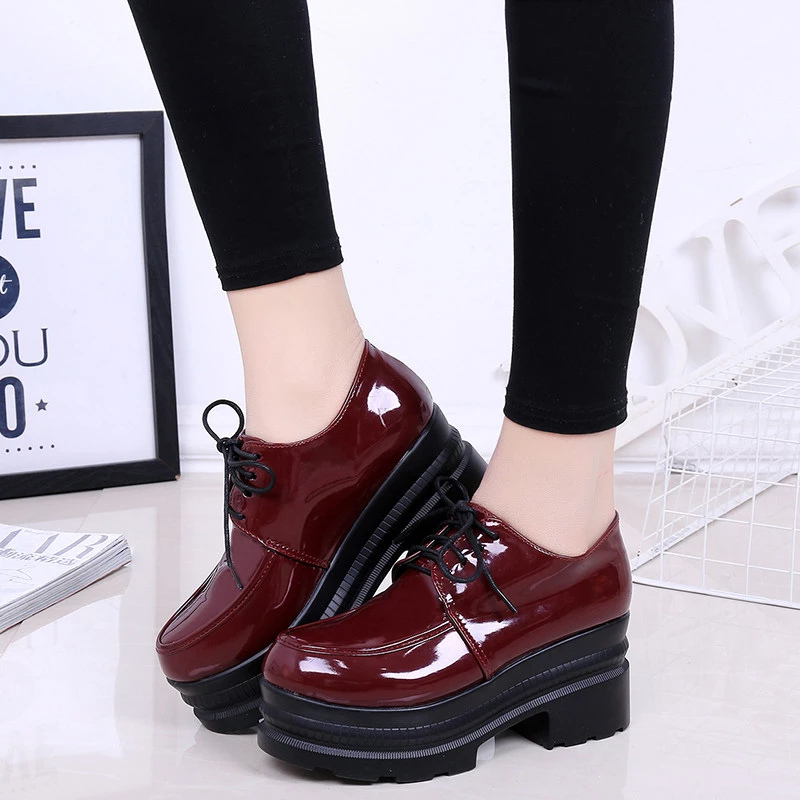 LUCYEVER Women High Heels Shoes Platform Wedges Female Pumps Black PU Leather Lace Up Thick Bottom Round Toe Casual Shoes