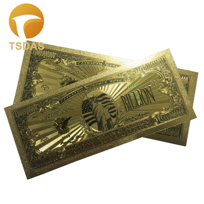 10pcs/lot USA Color Gold Banknotes 1 Billion Dollars Banknote in 24K Plated Replica Colors For Collection