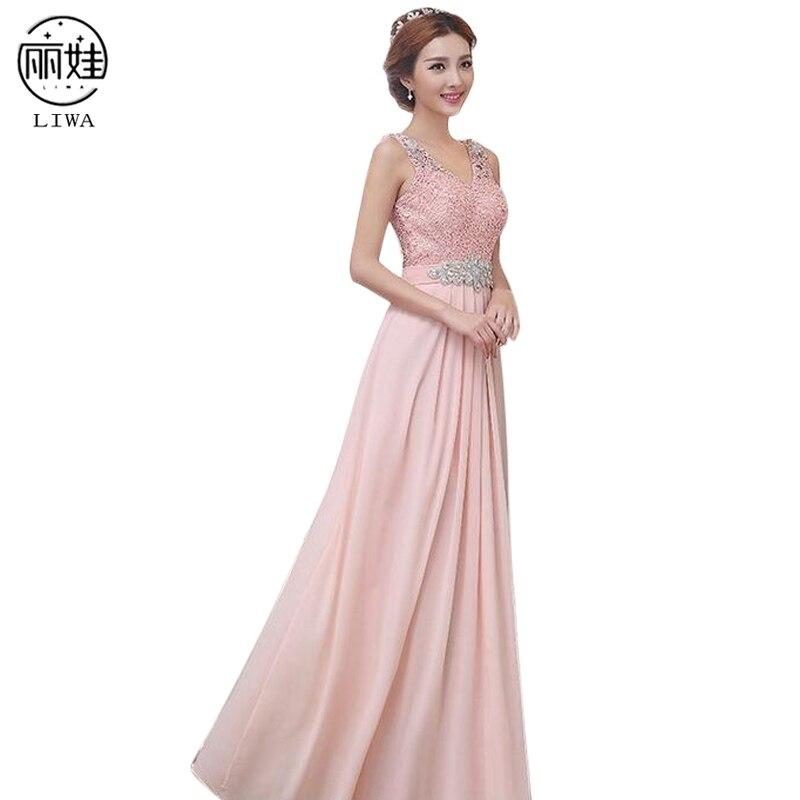 Plus Size S-6XL Crystal   Bridesmaid     Dresses   Long Chiffon   Dress   Wedding Party   Dress   Formal Bride Gowns Vestido De Festa LF13