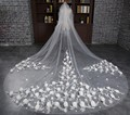 Real Photo 3 Meter 3D Flowers Wedding Veils With Comb Long Cathedral Bridal Veils White Wedding Accessories Veu De Noiva 2017