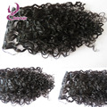 Fashion loose curly clip ins black unprocessed Peruvian human hair clip in extension 7pcs/set curly hair extension clip ins 100g