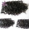 Moda loose curly clip ins negro clip en la extensión del pelo humano Peruano sin procesar 7 unids/set ins clip de la extensión del pelo rizado 100g