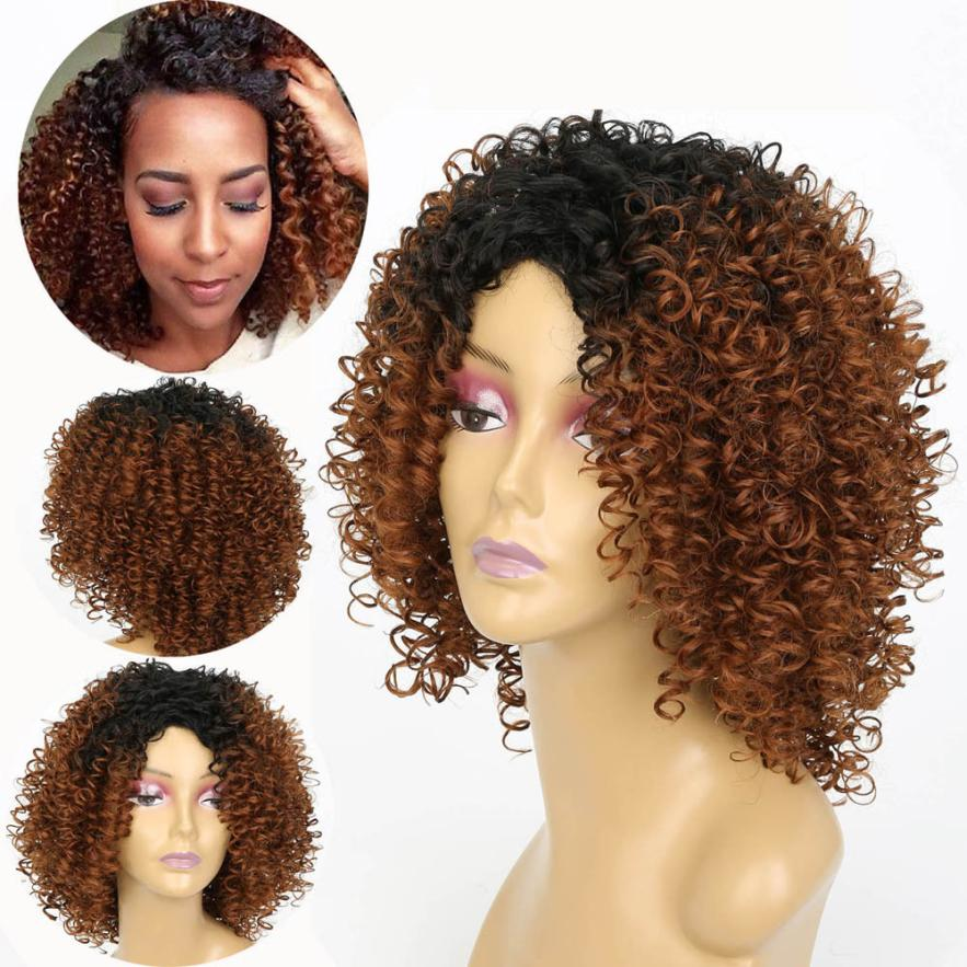 Women Fashion Lady Gold Brown Gradient Short Curls Hair Cosplay Party Wig Full Wig 0703