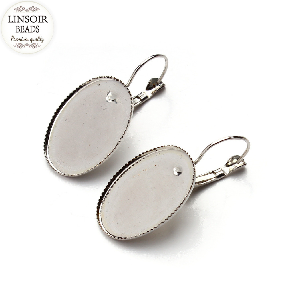 Lot 18x25mm Glass Cabochons French Lever Back Earrings Blanks Earring  Bezels Base Setting For